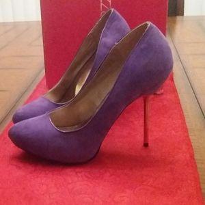 Purple suede stilettos